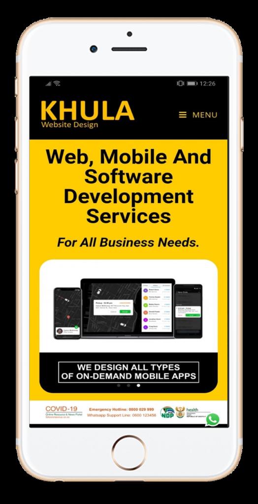 khula website design app screen